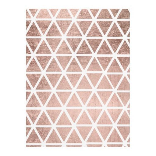 Stylish faux rose gold foil triangles pattern fleece blanket