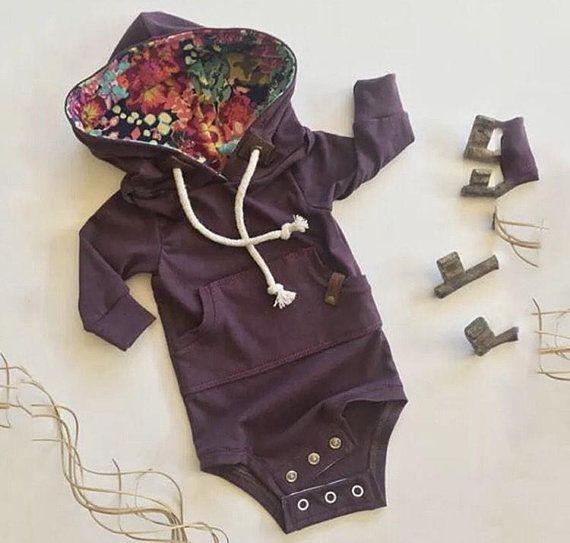 9dce7c9dfe15 Onesie hoodie infant baby girl deep purple floral winter fall toddler