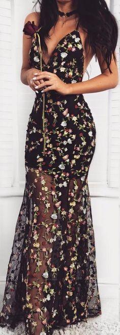 Vestido Longo : Floral Transparente