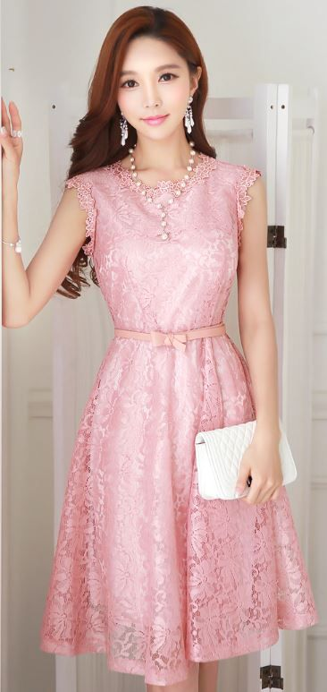 StyleOnme_StyleOnme_Floral Lace Ribbon Belt Sleeveless Flared Dress #pink…