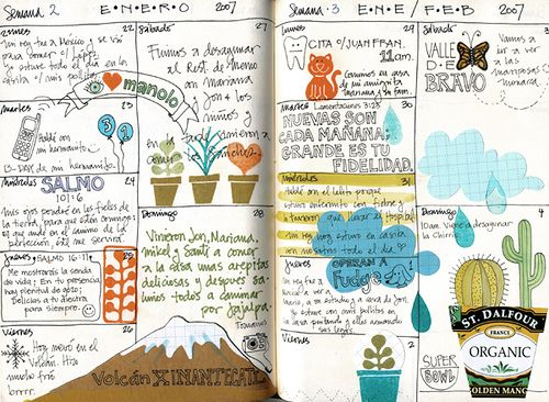 Art journal: Nice to take two weeks together, and some scraps of paper, and use your stamps