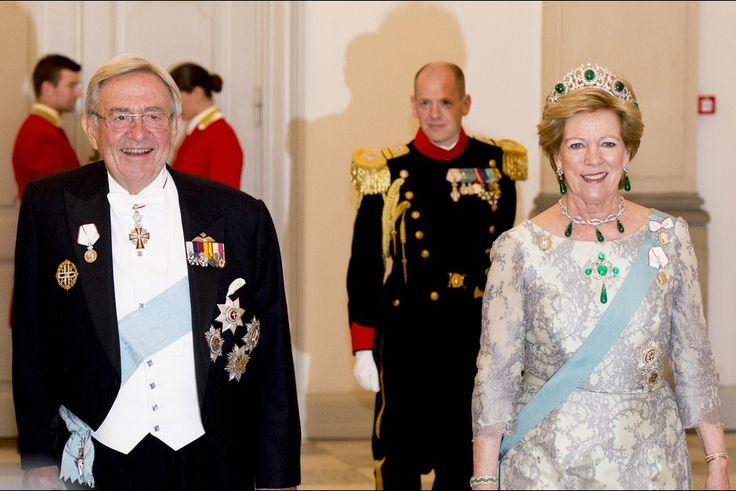 L'ex-roi Constantin II de Grèce et sa femme Anne-Marie de Danemark à Copenhague, le 15 avril 2015