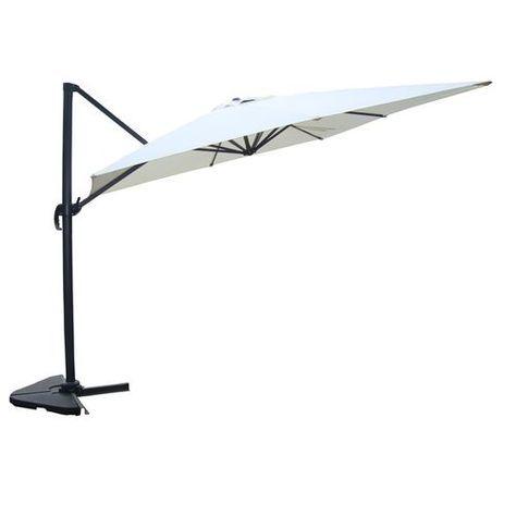 Magnifique proxima écru : parasol déporté, rectangulaire de 3x4m, rotatif à 360