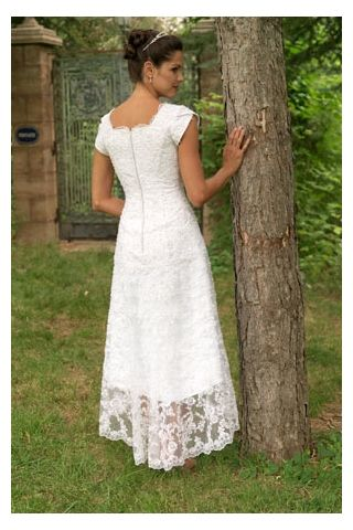 Tea-length White Bridal Gown in Charming Lace with Asymmetrical Hem, Quality Unique Wedding Dresses - Dressale.com
