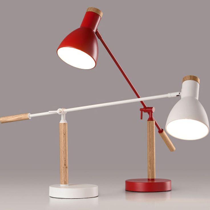 Nordic твердой древесины лампа простой современный спальня прикроватные led защита глаз настольная лампа стол