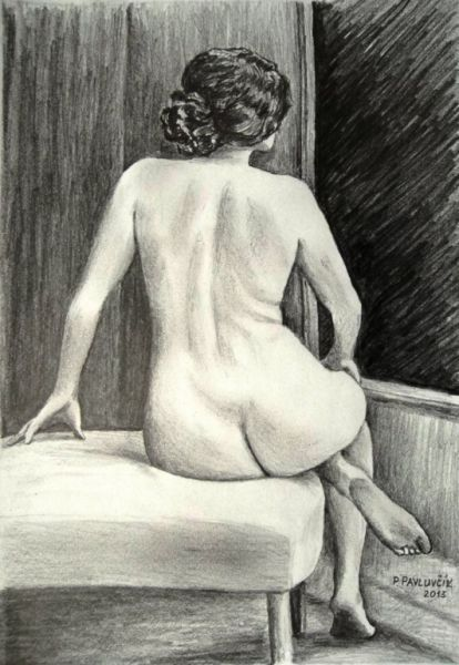 Peter Pavluvcik - naked female figure, drawing, pencil 2.