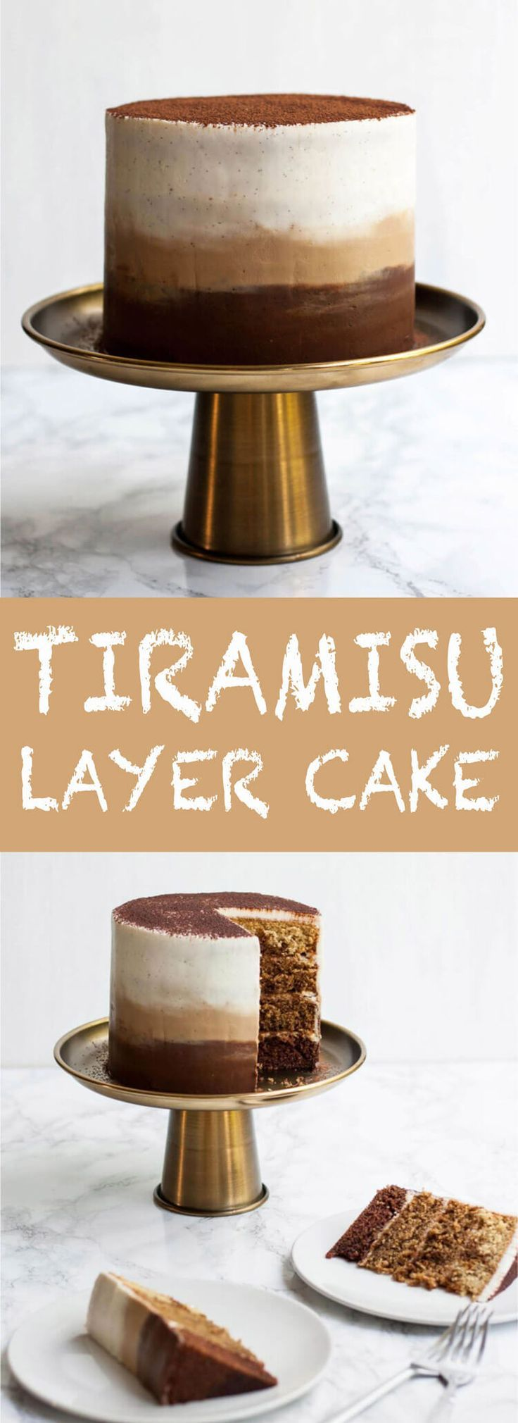 Tiramisu Layer Cake with Ombre Mascarpone Frosting - this decadent tiramisu cake is perfect for coffee addicts - it's light and flavorful, an ideal birthday cake! | Eat Love Eats