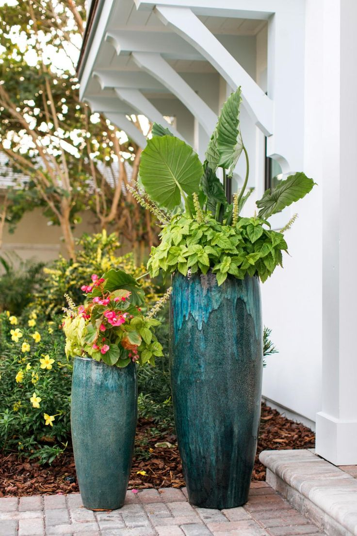 Giant Garden Pots 81 best verdigris to azure planters pots images on pinterest front courtyard pictures from hgtv dream home 2016 potted gardengarden potspotted workwithnaturefo