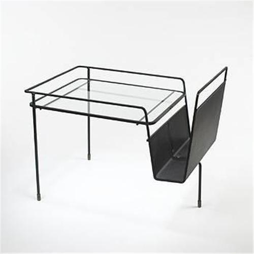 Mathieu Matégot, Enameled Metal Side Table for Ateliers Matégot, c1950.