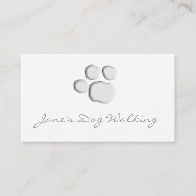 Elegant Dog Walking Paw Print Business Card Zazzle Com In 2021 Printing Business Cards Paw Print Dog Walking