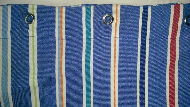 """Kelsey Pottery Barn Kids Blue Multi Stripe Shower Curtain 72"""" x 72"""" #PotteryBarnKids"""