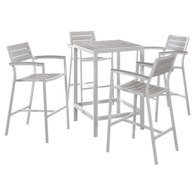 Maine 5 Piece Outdoor Patio Bar Set in White Light Gray - Modway