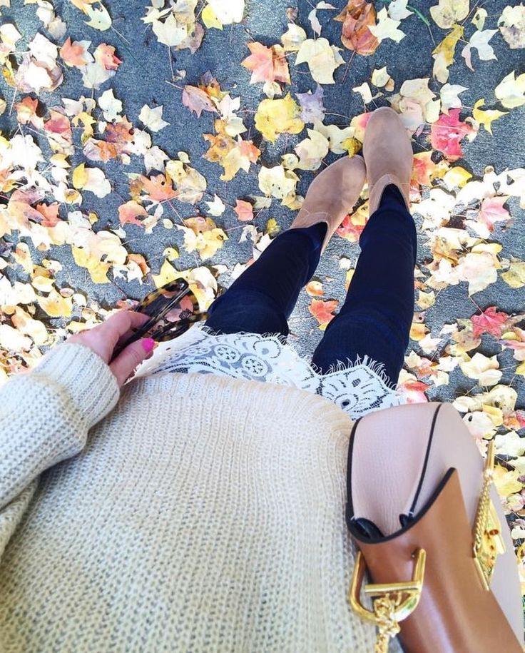 Love the lace under the sweater... very girly