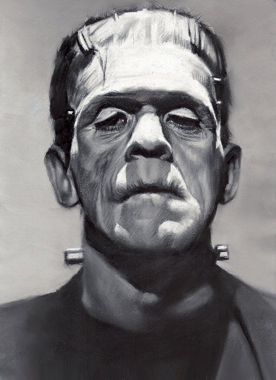 "Frankenstein, drawing, poster, print, 16""x20"" by Eugenes Portraits 