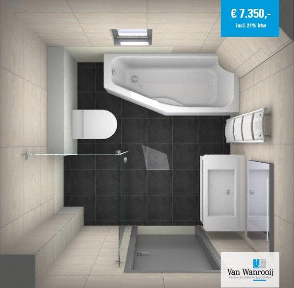 Deze kleine badkamer met bad heeft een afmeting van 2,18 x 2,14 meter. De compacte badkamer is van alles voorzien: ligbad, toilet, douche en wastafel. Mede door het ruimtebesparende ligbad past dit allemaal precies.