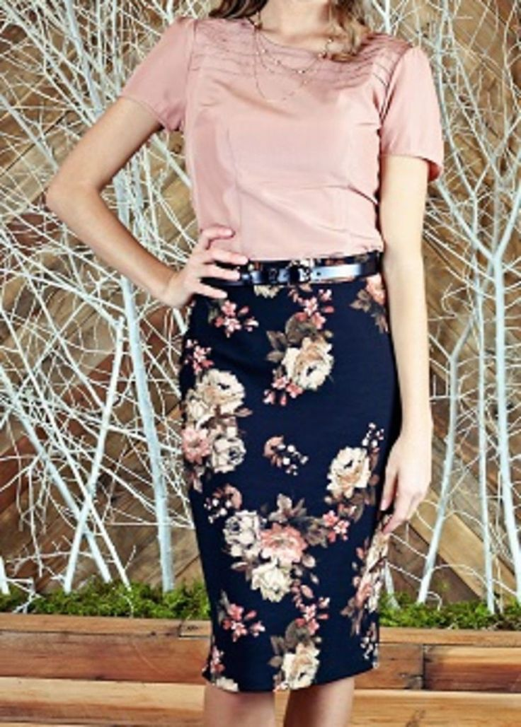 A simple pencil skirt with a fun floral pattern is a favorite part of any spring style. Its your choice as to which fun pattern fits you best and gives you new life this spring. This skirt is a little longer than the average pencil knee length skirt. T