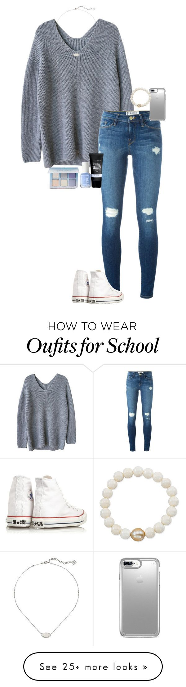"""what language are u taking in school?"" by gabyleoni on Polyvore featuring Frame, Maybelline, Converse, Essie, Anastasia Beverly Hills, Kendra Scott, Speck and Anne Sisteron"