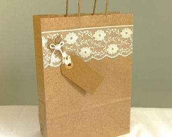 Boda regalo bolso - arpillera y favor de shabby chic boda de encaje - Bridal party presentación bolsa - papel de regalo de boda ducha kraft papel - Reino Unido