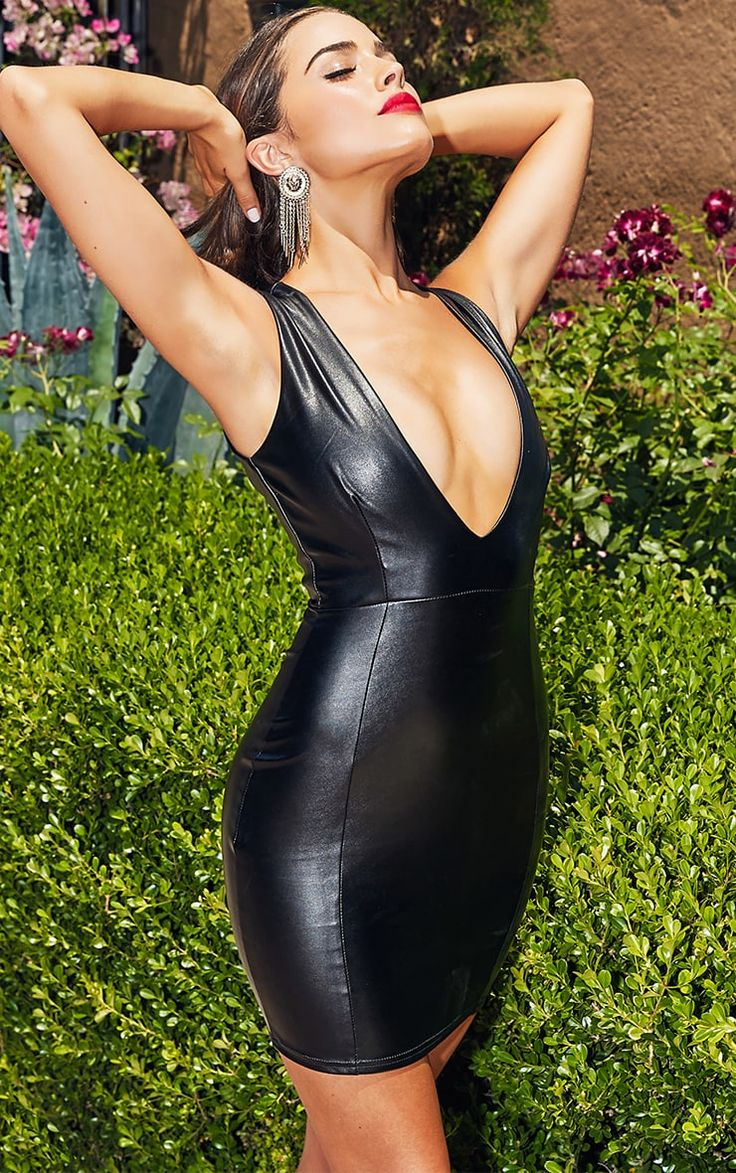 Black PU Plunge Bodycon Dress