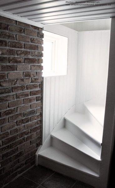 källare,trappa,vitt,tegel