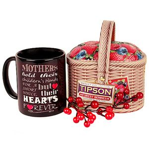 Hamper includes: Tipson strawberry flavoured tea. Net weight: 100 grams. Mom special quote printed on a black ceramic mug. Rs 1449/- http://www.tajonline.com/mothers-day-gifts/product/md1931/think.-feel.-mom./?aff=pint2014/