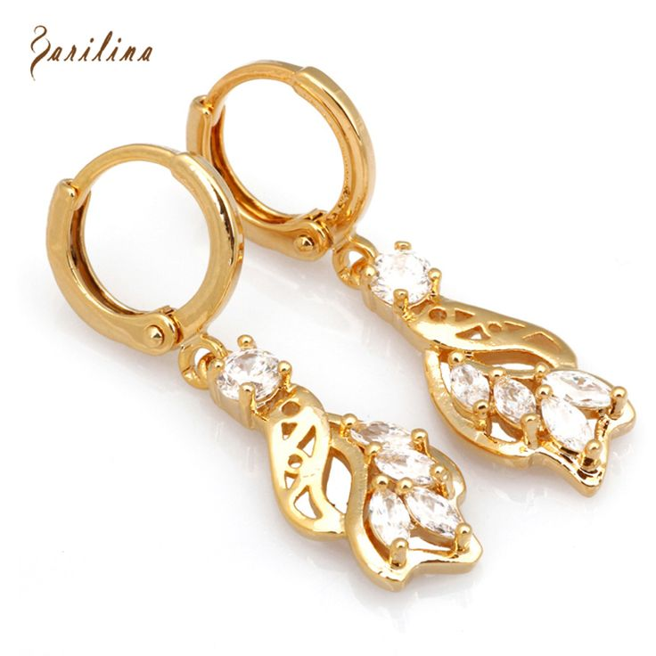 New 2017 Top quality White Cubic Zirconia gold  earrings for women fashion jewelry E339 #Affiliate