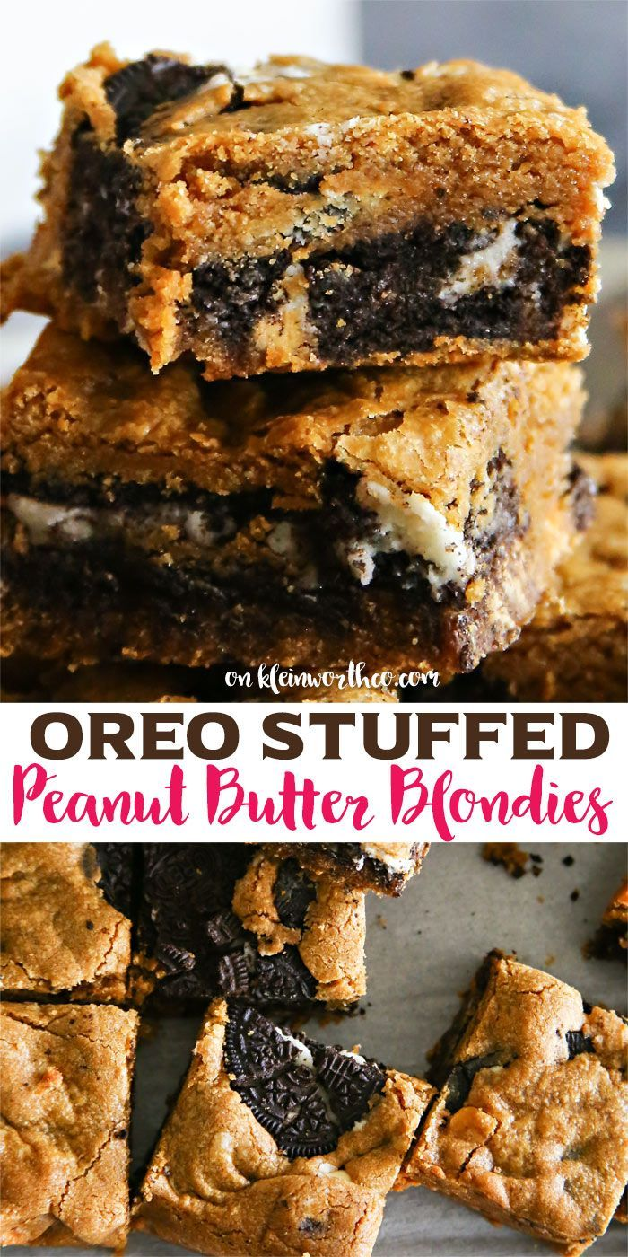 If you love peanut butter, blondies, Oreo cookies & easy recipes then these Oreo Stuffed Peanut Butter Blondies will be your new favorite yummy bar dessert. via @KleinworthCo