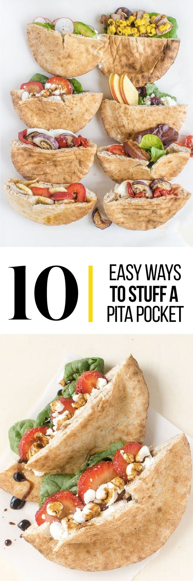 "A piece of pita bread is a little world unto itself — so round, so hollow, so open to whatever you desire for lunch. This ""how to"" shows you some easy ways to stuff your pita"