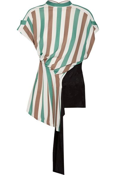 LOEWE LOEWE - OPEN-BACK STRETCH-JERSEY AND SATIN-JACQUARD TOP - GREEN. #loewe #cloth #