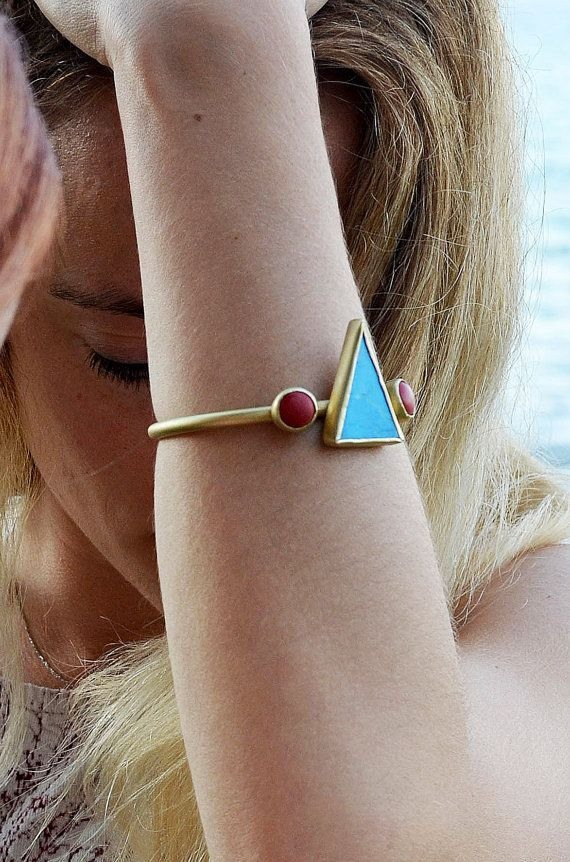 gold turquoise and coral bracelet african chic elegant by annoushe