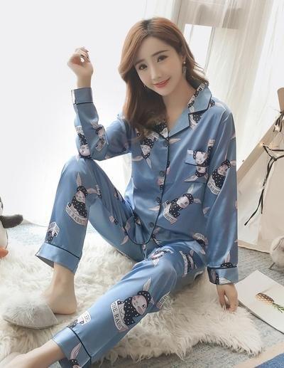 f11ee6dabf8b Womens Silk Satin Pajamas Pyjamas Set Long Sleeve Sleepwear Pijama Pajamas  Suit Female Sleep Two Piece Set Loungewear Plus Size