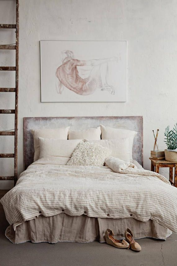 Natural Striped Linen Duvet Cover King Queen Custom Sizes Soft Bedding In Beige And White Stripes Apartment Decor Ideas Bed