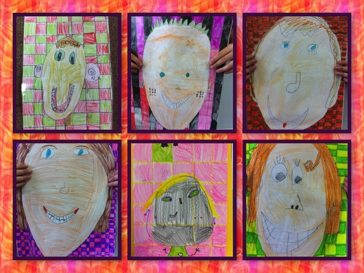 Self portraits with a grid background. Some children chose to work with felt pens others used a combination of felt pen and coloured pencil.