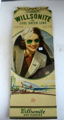 "Antique ""Airplane Sunglass Advertising Sign Wilsonite Sunglasses Reading PA "" 