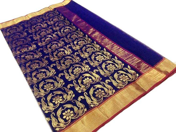 Blue Katan Silk Weaved Chanderi Saree