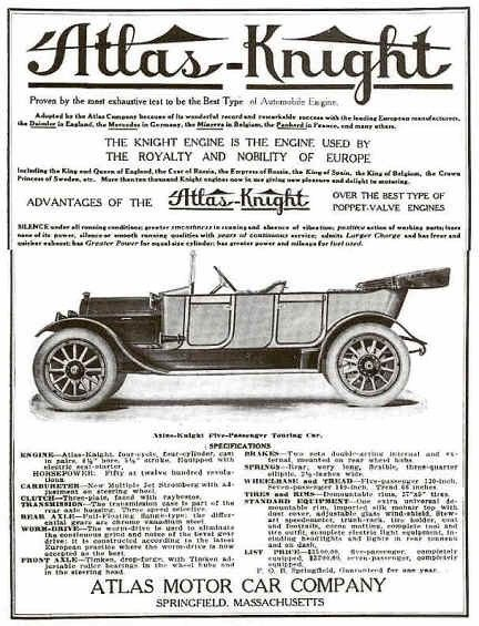 1913 Atlas-Knight Automobile Advertisement