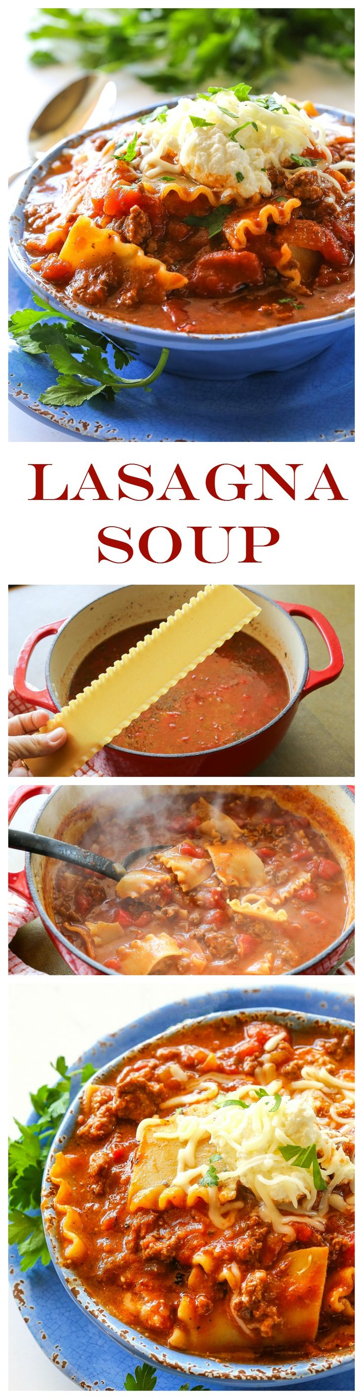 Lasagna Soup - a one-pot dish that taste just like lasagna in a bowl. One of my all-time favorite soups. Only 322 calories a serving. the-girl-who-ate-everything.com