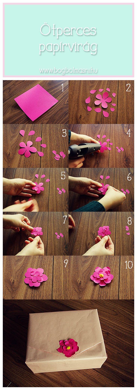 Kellékek: színes papír; ceruza, olló, folyékony ragasztó  Így készül: 1. Rajzold meg a virág szirmait a színes papírra. 2. Vágd ki a szirmokat. 3. Állítsd össze a virágot (ragaszd össze a szirmokat). 4. A szirmokat kicsit hajlítsd meg, így életszerűbb lesz a végeredmény.