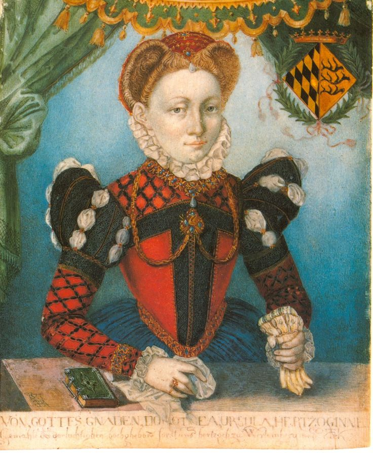 Circa1577 Herzogin Dorothea Ursula von Wuerttemberg attributed to Eberhard von Backe-EXCERPT: 'Her dress appears to be an exaggerated version of French fashion with expanded leg-o-mutton sleeve tops and the peaked crescent neckline almost becoming a very wide isosceles triangle. Her dress is more colorful than shown in most portraits of the day with a red bodice with black bands complemented by a red partlet reticulated in black matching the sleeves above her blue skirt.' Colorful German…