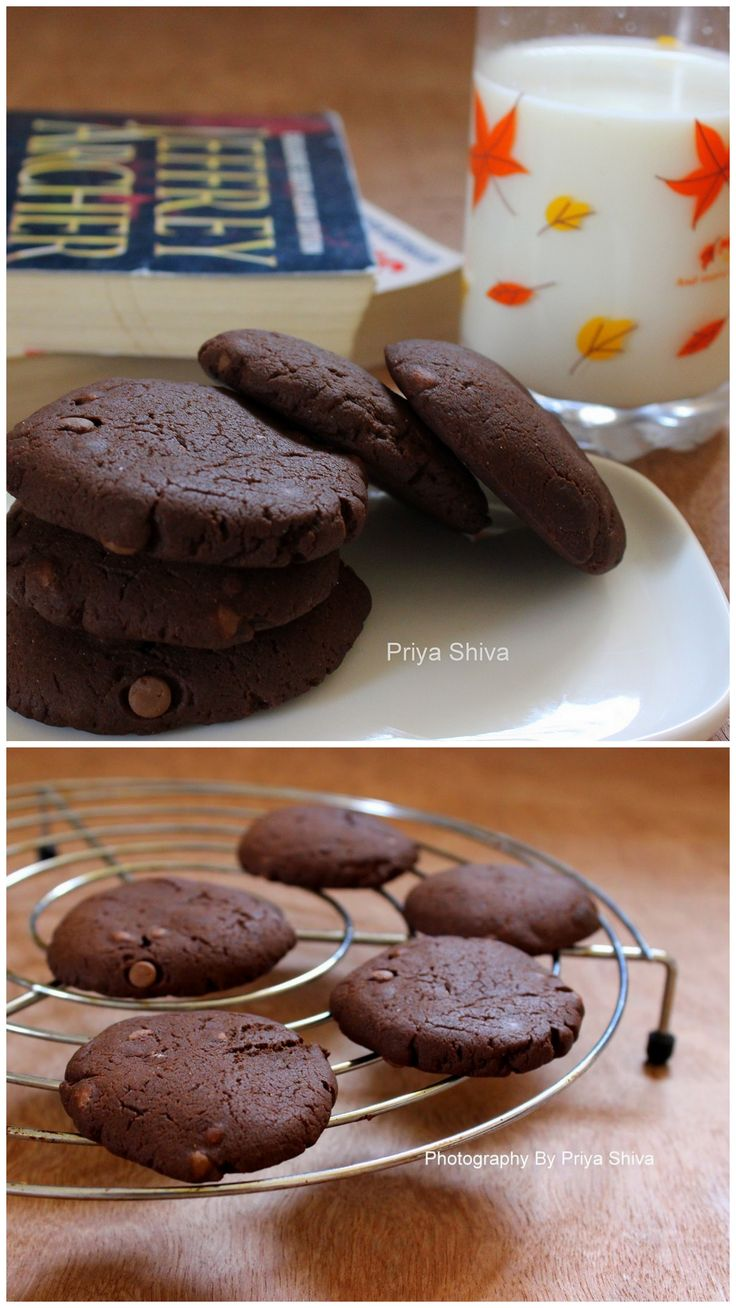 Eggless Double Chocolate Chip Cookies - #cookies for chocolate lovers!