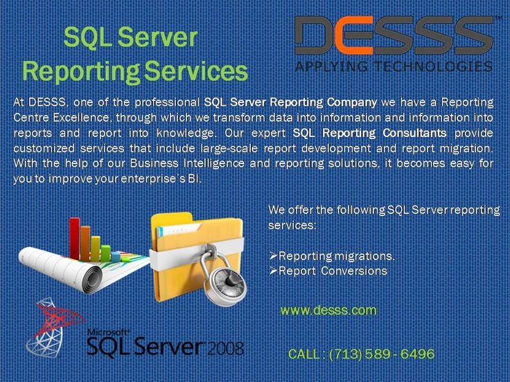 SQL Server Report Services  #DESSS is a famous and #experienced #SQL Server #Report Services Consulting Company that #offers server based supports to interact with #customers, #stakeholders and #partners.  To hire our services ping at houston (713)589-6496,Texas.  Visit: http://www.desss.com.