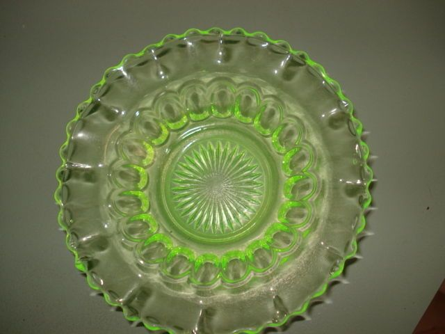 Australian Crown Crystal Citron Uranium Depression Glass Nappy Bowl