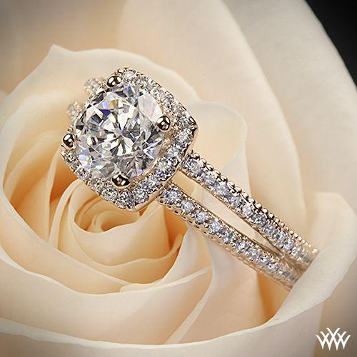 Rose Gold Split Shank Pave Diamond Engagement Ring