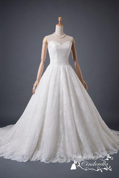 ウエディングドレスショップ シンデレラ(Wedding Dress Shop Cinderella) 総レースが美しいフレアAラインの上品ウェディングドレス SS6897