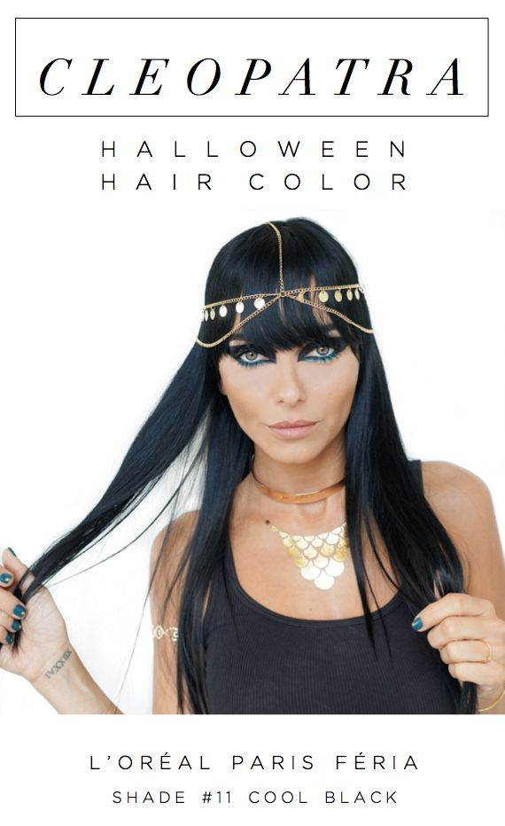 Cleopatra Halloween costume hair color with L'Oreal Paris Feria Rebel Chic in shade 11 Cool Black.