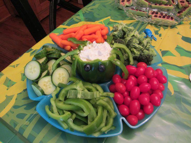 Spider veggie dip Bug Birthday party