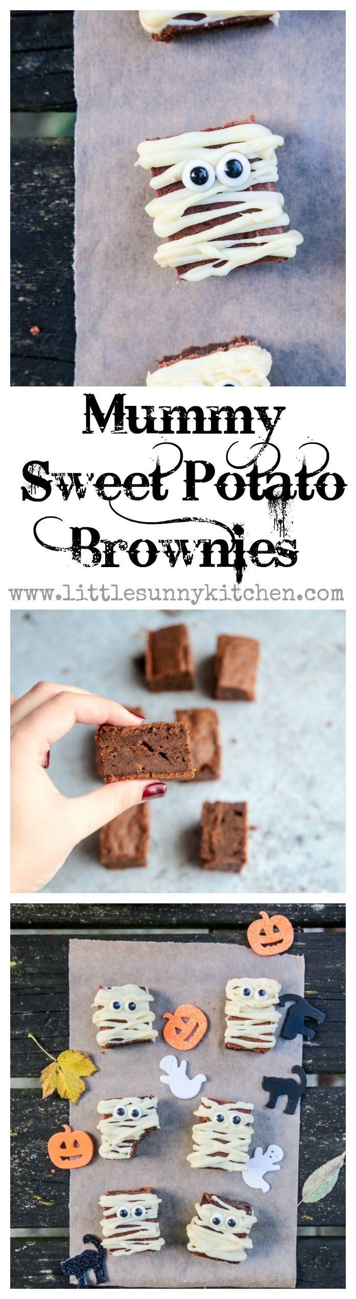 Easy and fun Mummy sweet potato brownies for Halloween!