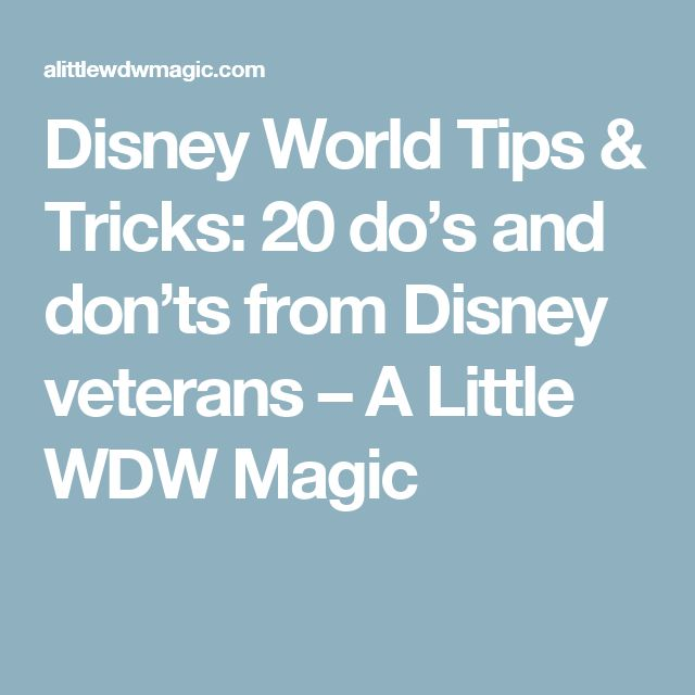Disney World Tips & Tricks: 20 do's and don'ts from Disney veterans – A Little WDW Magic