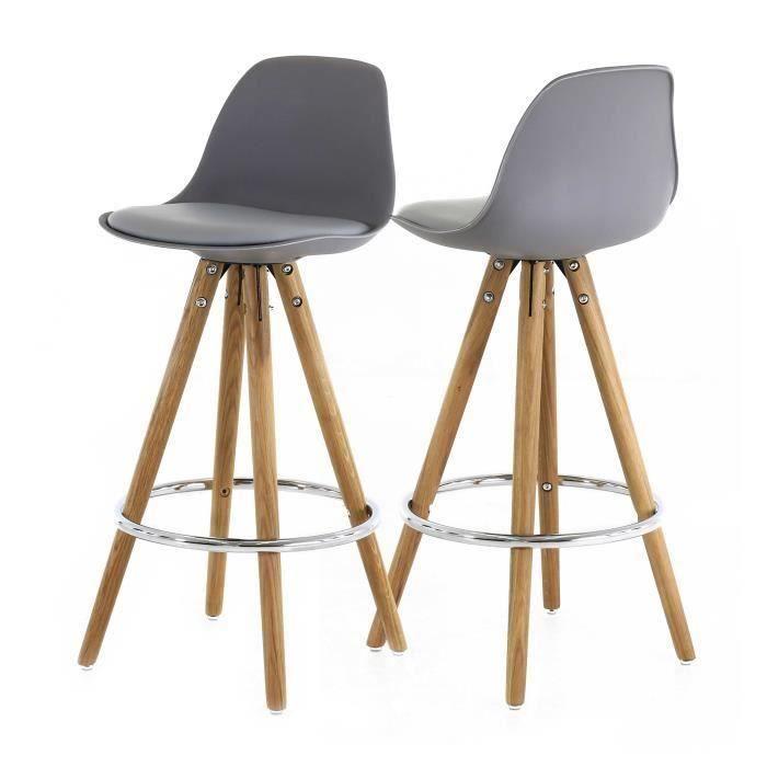 lot de 2 chaises hautes grises collection popsy - Salon & Salle à manger à bon prix – MonCornerDECO