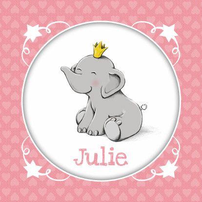 Lief en romantisch geboortekaartje met op de voorzijde een prinses olifantje met…